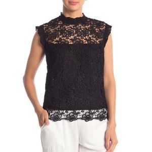 Nanette Lepore High Neck Lace Blouse